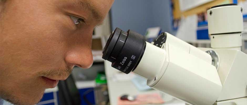 cientifico con un microscopio